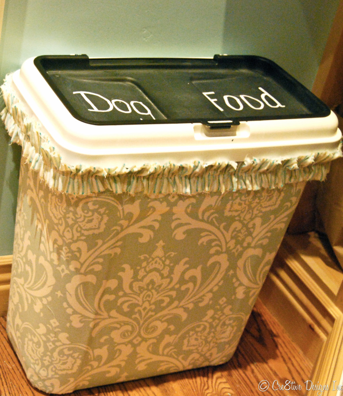 Damask Fabric on a dog food bin
