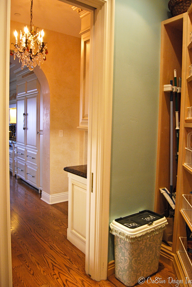 Pantry with Starch applied damask fabric
