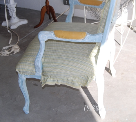 side view of upholstering a bergere chair