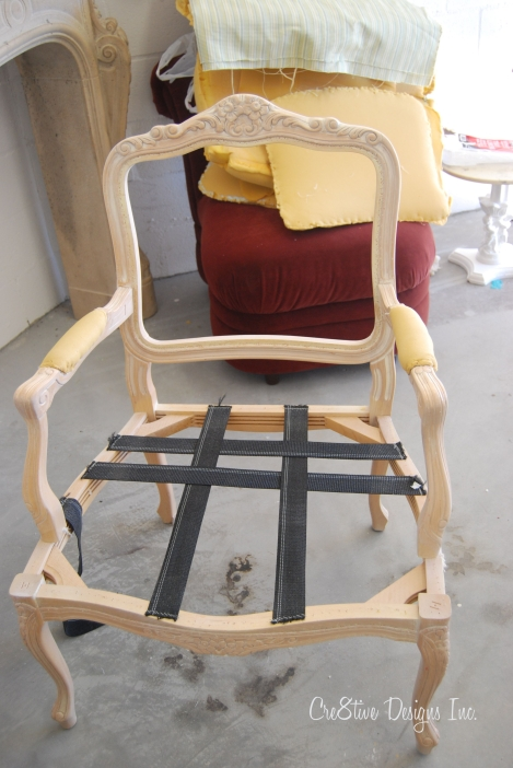bergere chair being reupholstered