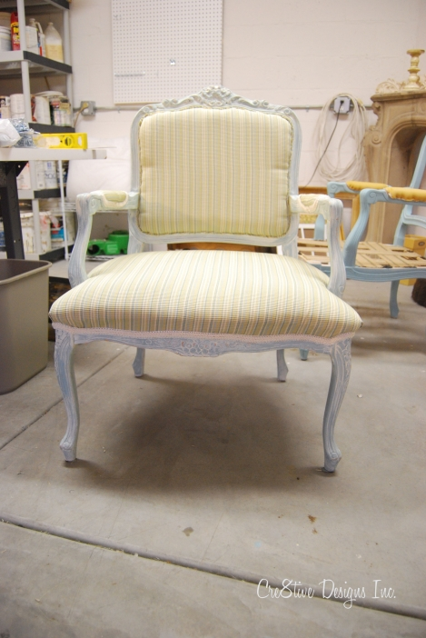 bergere chair in stripe fabric