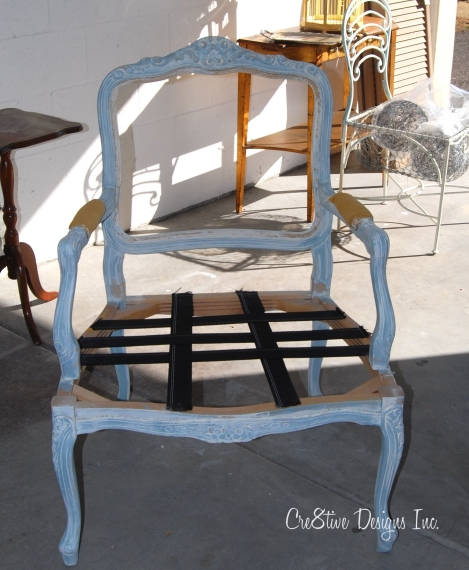 painted finish on a bergere chair
