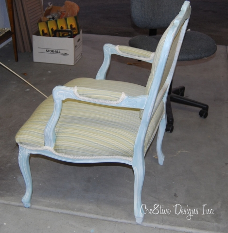 berege chair in stripe fabric
