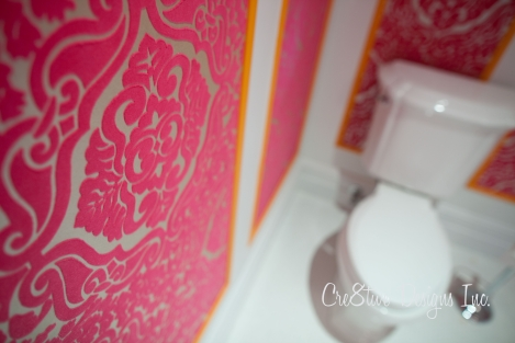 Damask hot pink flocked wallpaper