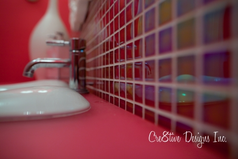 Pink iridescent glass tiles