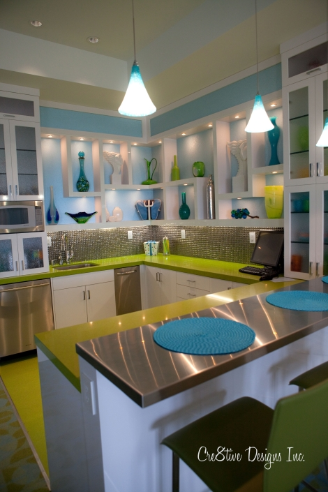 Blue and green kitchenette