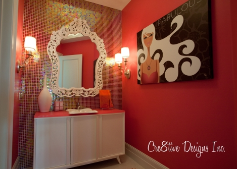 pink and orange bathroom