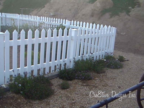 Garden with white picket fence
