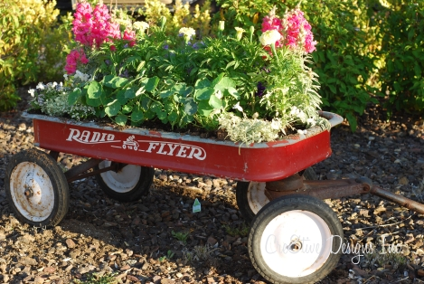 flowers in radio flyer wagon