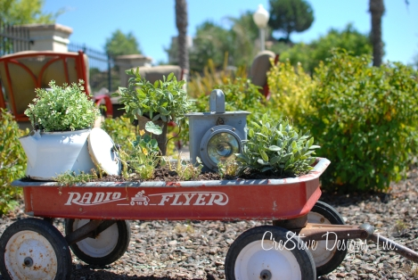 radio flyer wagon with vintage items