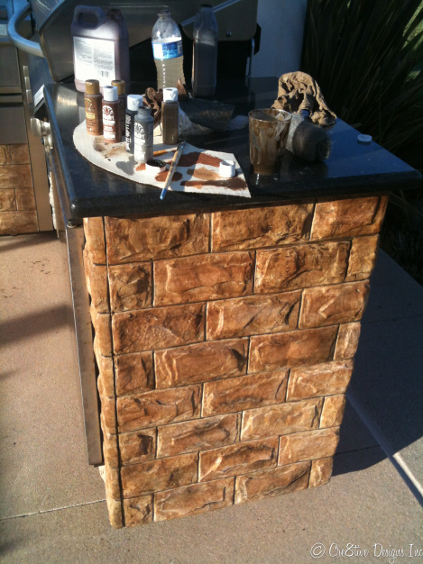 BBQ island stone faux finish