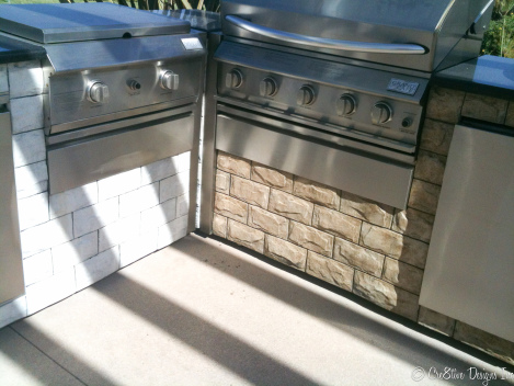 BBQ  island faux stone finish 
