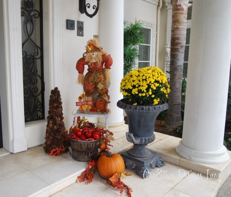 fall decorating at an entry