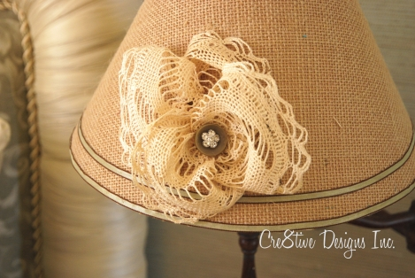 Grasscloth covered lampshade with a doilie rosette