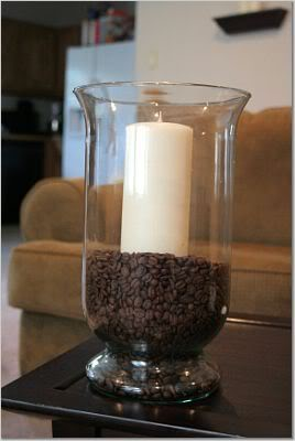Coffee beans as vase filler with vanilla candle