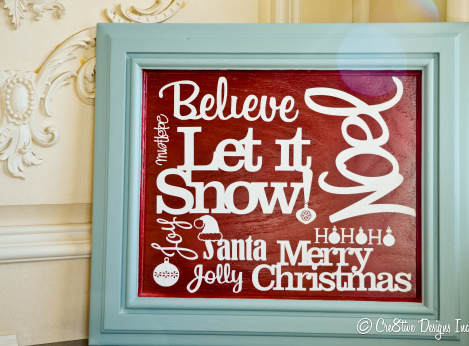 turquoise and red Christmas Subway Style Sign
