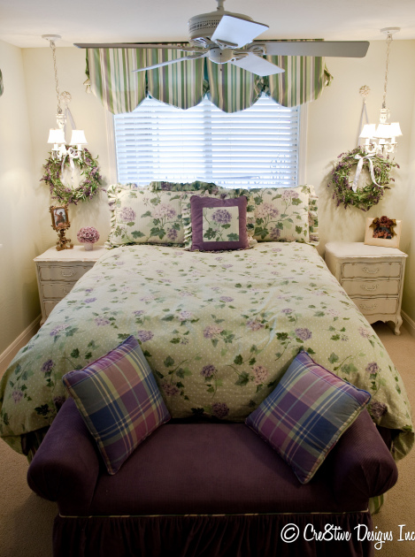 Lavender, mint green, floral bedroom
