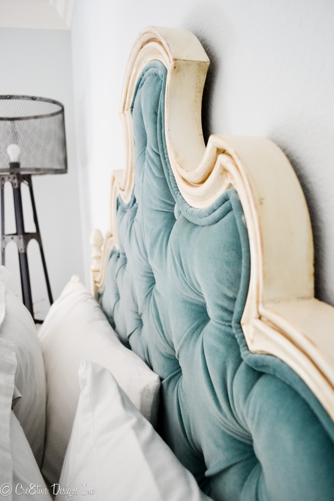 Turquoise Velvet Tufted headboard 