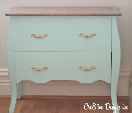 Homegoods dark green chest re-painted mint