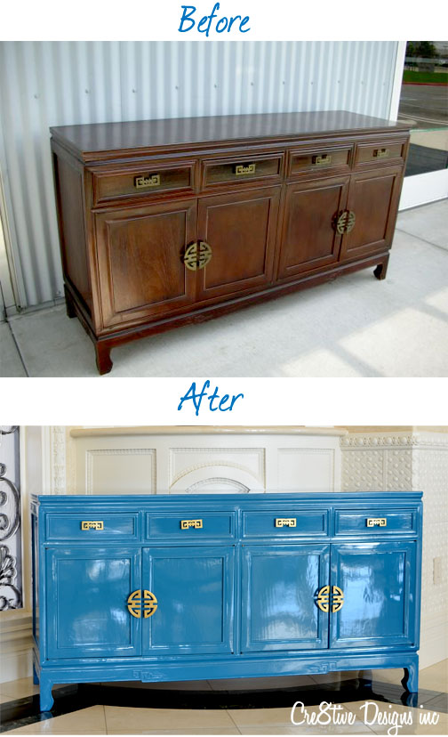 Lacquered Credenza before & After