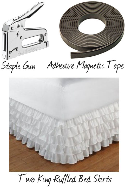 supplies for making a ruffled table skirt
