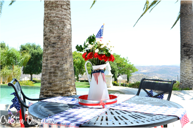 4th of July flower centerpiece with red carnations