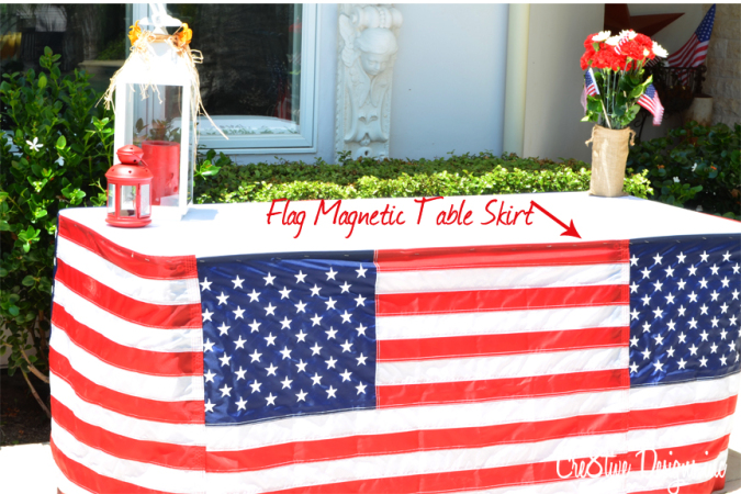 magnetic 4th of July table skirt
