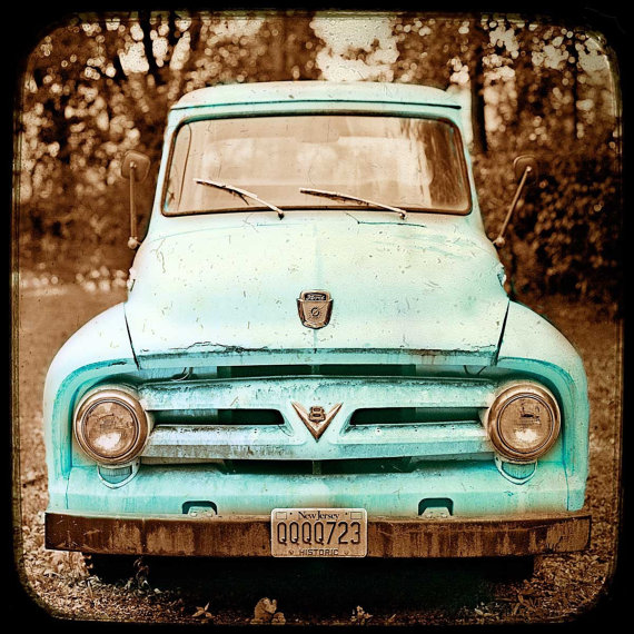 Old turquoise truck photo