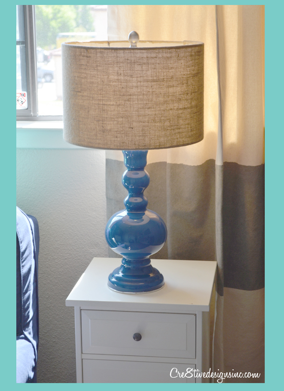 Navy Lamp with Restoration Hardware drapes