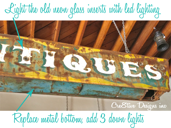 Turning an antique sign into a light fixture