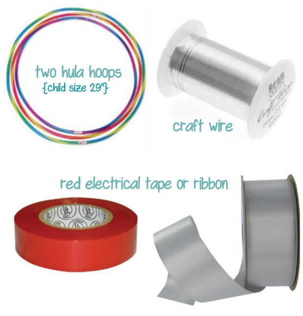 hula hoop ornament wreath supplies