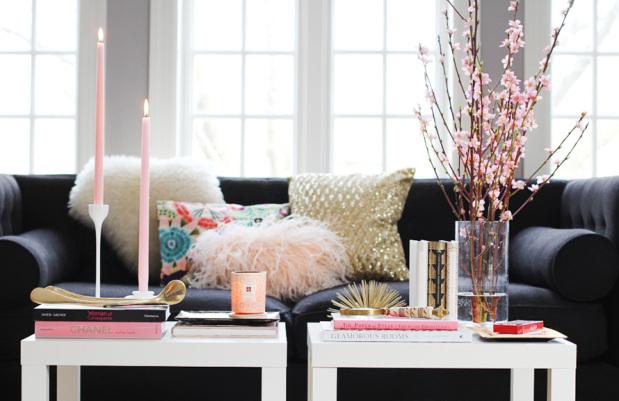 Brass urchin coffee table styling