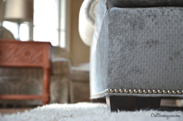 sofa with nailheads