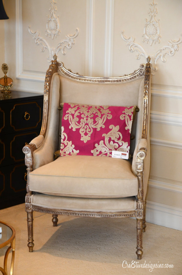 Antique Bergere chair with Robert Aleen Fabric