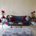 Navy blue tufted sofa