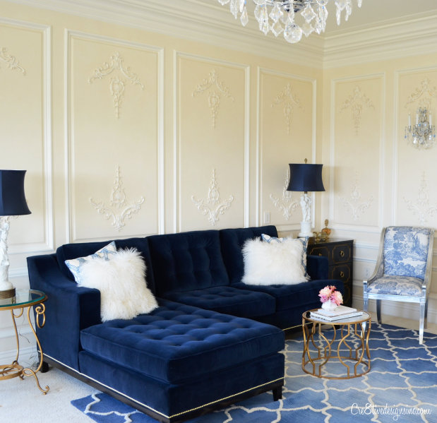 Navy Tufted sofa