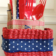 Basket of 4th of July utensil pockets