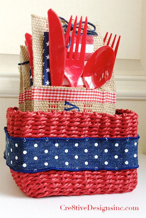 Basket of 4th of July utensil pockets