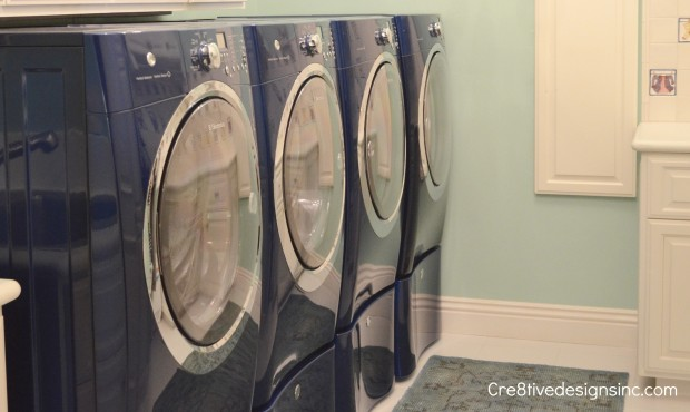 Mint and Navy washer & dryer
