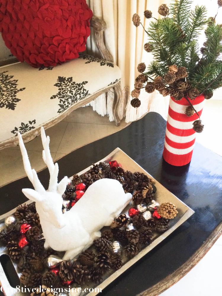 White reindeer and sweater vase sleeves