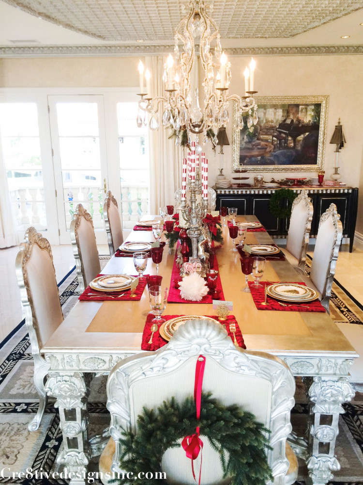 Christmas table decorating with reds