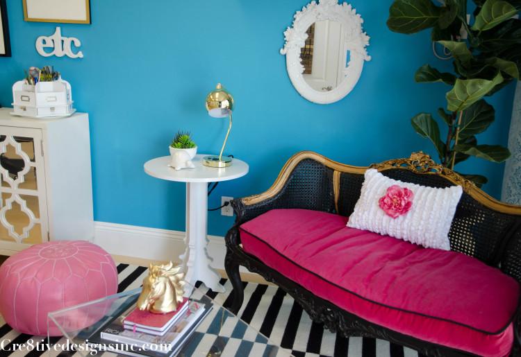 Hot pink velvet settee