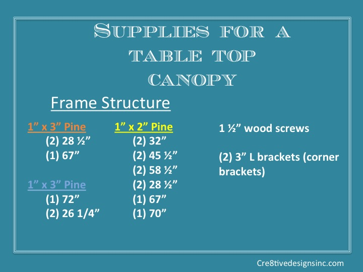 Supplies to build a table top canopy