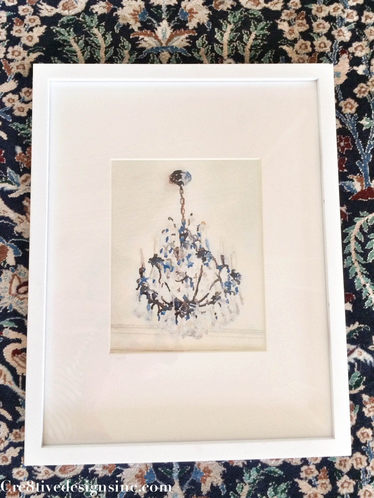 Watercolor chandelier framed