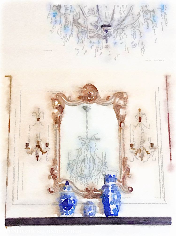 Watercolor of a chandelier and mirror