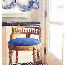 blue watercolor chair