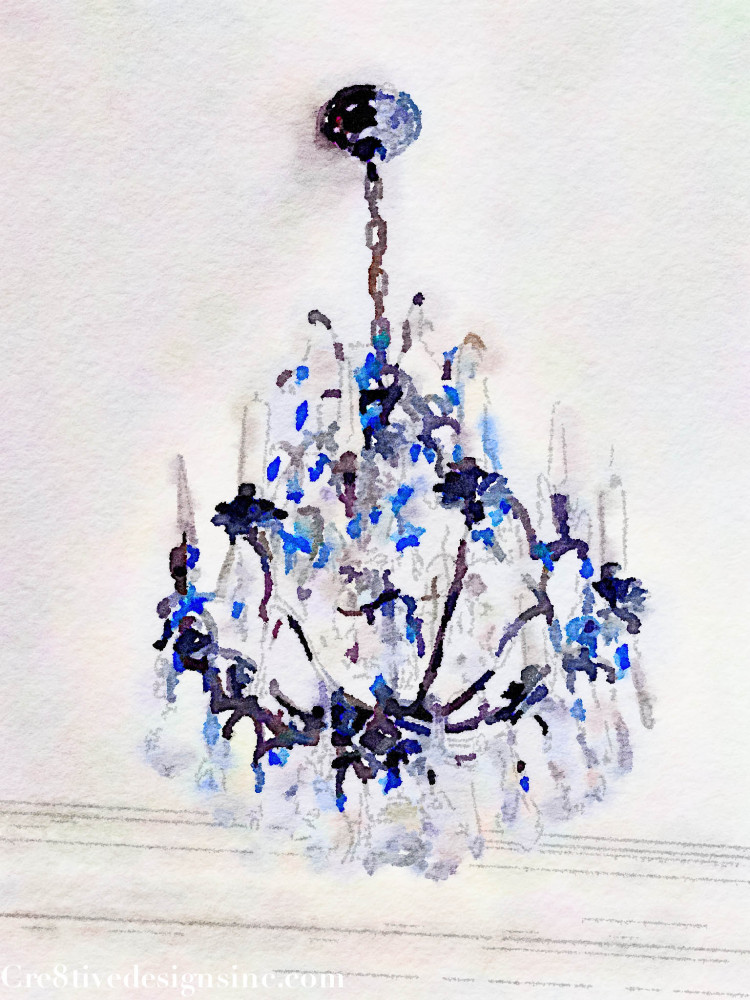 Watercolor of a chandelier