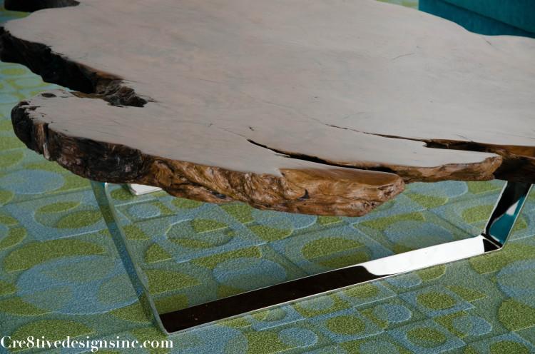 live edge coffee table with polished chrome base