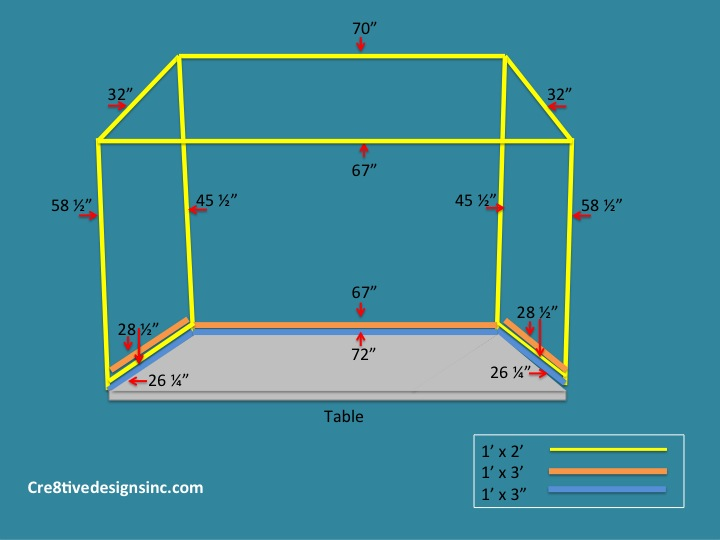 table top canopy building dimensions