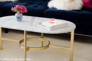 West Elm Marble oval coffee table-14